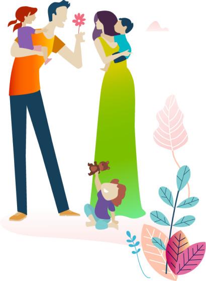 Imagem de uma família com crianças nos colos.
